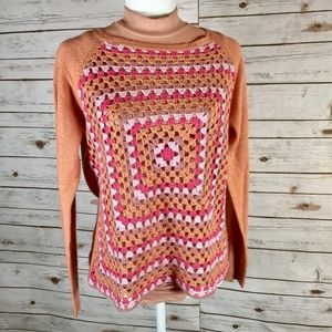 Sundance crochet granny square peach sweater Small